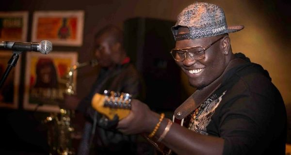 Sylent Nqo, the guitar sangoma in action PIC: MIKE WALL | NAFUNA.TV