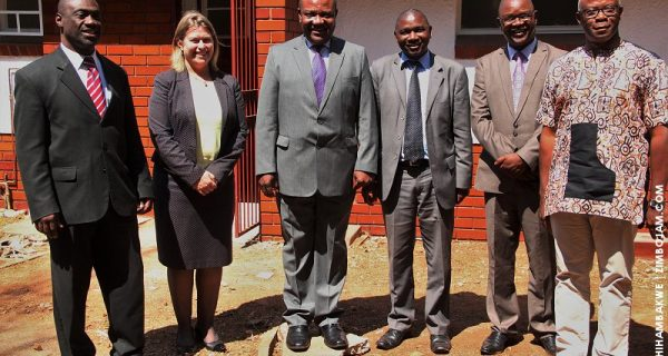 Australian Ambassador, Suzzane McCourt (second from left) poses for a pic with Mayor Manyenyeni (on her left) in front of the refurbished ablution facilities. PIC: T. CHIHAMBAKWE | ZIMBOJAM.COM