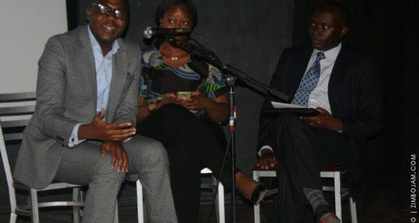TedxHarare Salon IdeaLabs, (from left) Dr. Mambondiani (Steward Bank) Upenyu Makoni (TedxHarare moderator) Terrence Manhanga (ZimSwitch). PIC: S. MOYO | ZIMBOJAM.COM