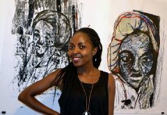Artist Lillian in front of her work. PIC: COURTESY OF TSOKO GALLERY