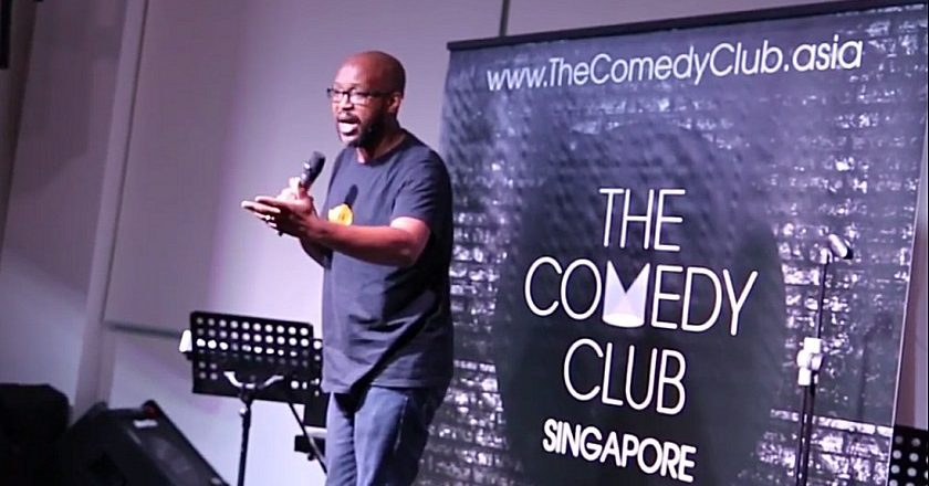 Carl Joshua Ncube performing at the Comedy Club in Singapore
