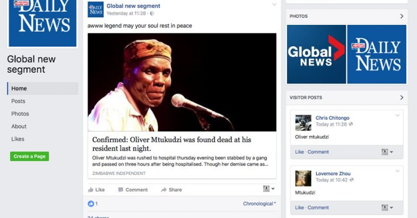 The fake news Facebook page claiming Tuku is dead