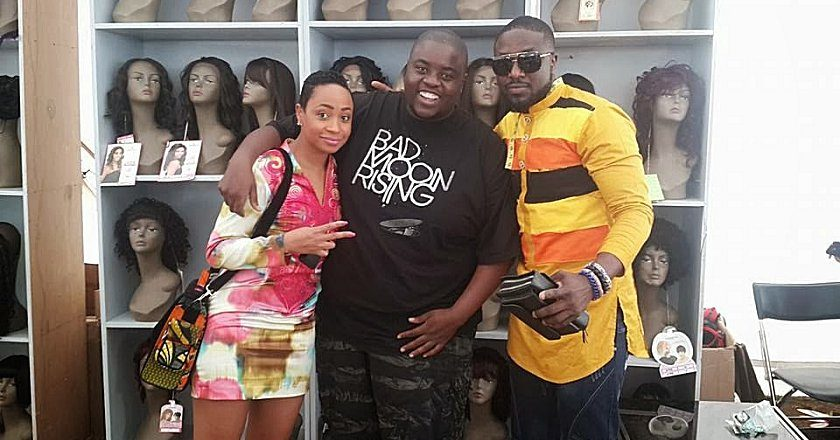 Wicknell Chivayo (centre) pictured with Pokello and Elikem. PIC: POKELLO FACEBOOK