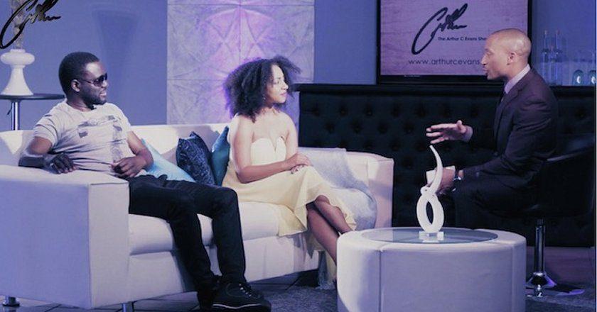 Arthur C. Evans interviewing Otis Fraser and Ammara Brown. PIC: ZAMBEZI MAGIC