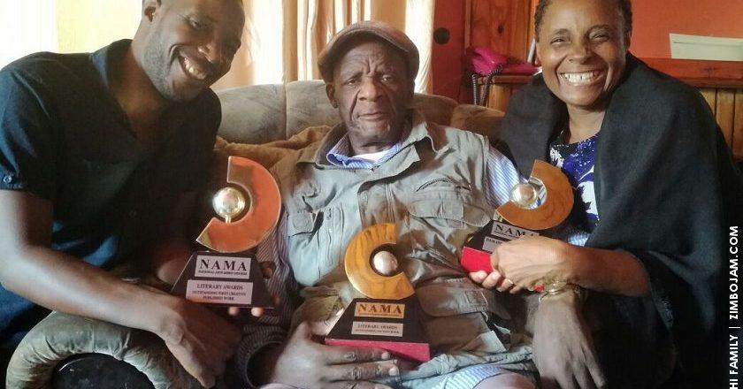 Farayi, Charles and Jesesi Mungoshi with their NAMA awards.