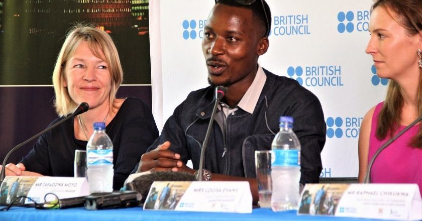 Fashion designer Tafadzwa Moyo (centre) at the British council press conference PIC: T. CHIHAMBAKWE | ZIMBOJAM.COM
