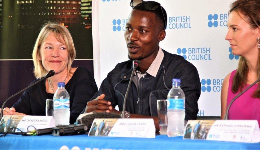 Fashion designer Tafadzwa Moyo (centre) at the British council press conference PIC: T. CHIHAMBAKWE | ZIMBOJAM.COM