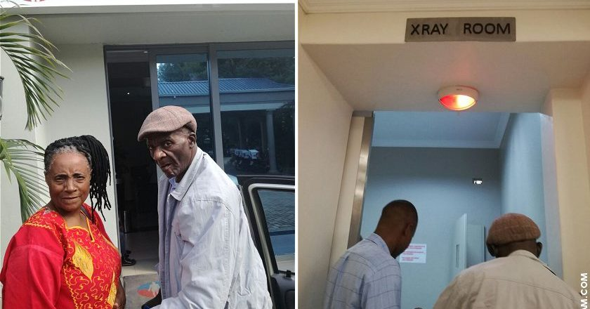 Charles Mungoshi with wife Jesesi at the Medical Imaging Centre on 22 March, 2017. Mungoshi underwent a number of tests ahead of his upcoming operation.