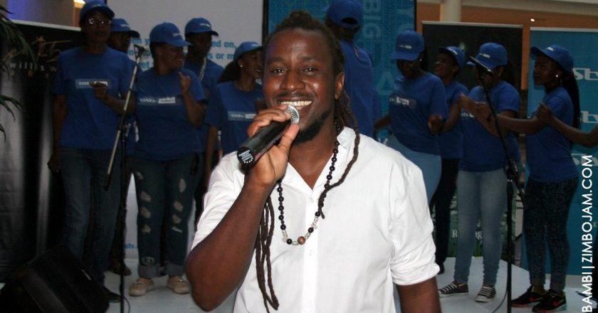 Willis Wataffi at the launch backed by the believers choir PIC: T. NDABAMBI | ZIMBOJAM.COM