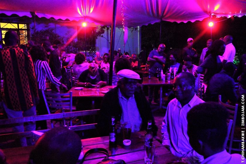 jazz fans drinking and nibbling on snacks whilst being serenaded by the cool sounds of Prudence and her band. PIC: T. CHIHAMBAKWE. | ZIMBOJAM.COM