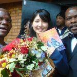 Ticha Muzavazi (Left) poses with guest at the launch of his book PIC: COURTESY OF TICHA MUZAVAZI