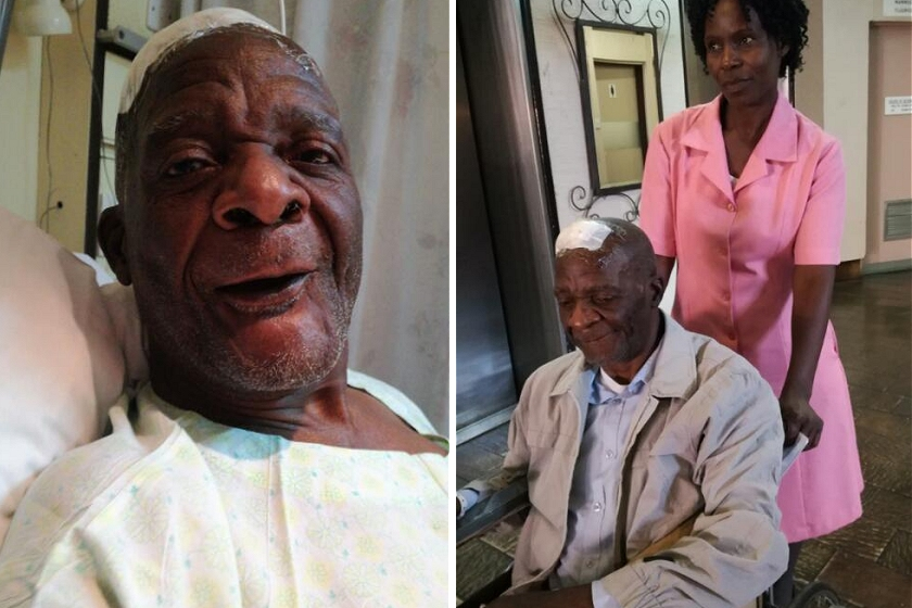 LEFT: Mungoshi on Sunday, three days after the operation. RIGHT: Mungoshi being discharged from hospital, April 18, 2017.