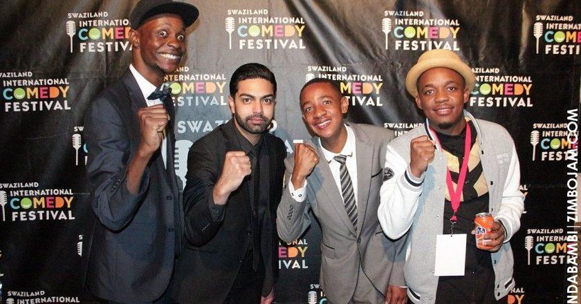 The four Zimbabwean comedians participating at the Swaziland Comedy Festival Long John, Farhan Esat, Clive Chigubhu and Courage Rangarirayi Gondo PIC: T. NDABAMBI | ZIMBOJAM.COM