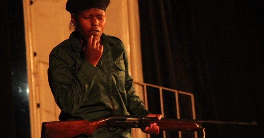 Edith Masango acting in the play.