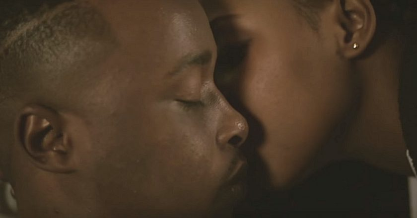 Tytan in a scene from the video Ndipe Mwoyo. Planting a kiss on his cheek is Pryde Mpofu, who plays the nurse in the video. PIC: SCREENSHOT =