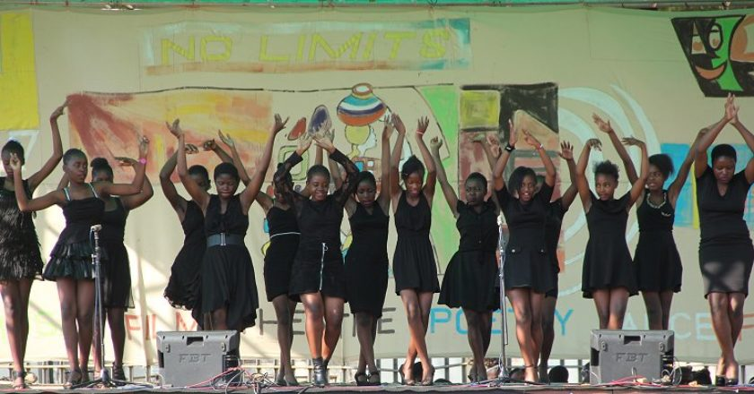 Girls High School students staging a salsa dance piece. PIC: T. CHIHAMBAKWE   ZIMBOJAM.COM