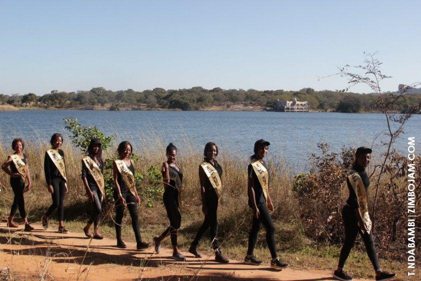 Miss Zim finalists on a trail walk at Eldorado Game Park PIC: T. NDABAMBI | ZIMBOJAM.COM